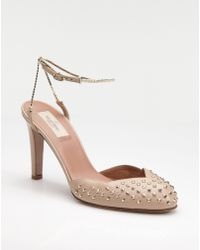 Valentino Studded Ankle-strap Slide Pumps - Lyst