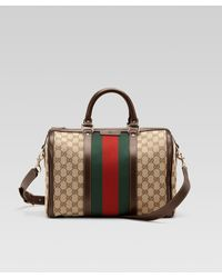Gucci Vintage Web Medium Boston Bag - Lyst