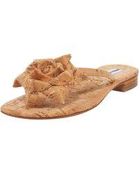 Manolo Blahnik Patricia Flecked Cork Flower Thong Sandal beige - Lyst