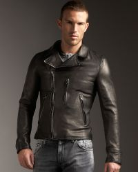 Dolce & Gabbana Leather Motorcycle Jacket - Lyst
