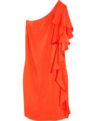 Halston Ruffled Asymmetric Silk Dress - Lyst