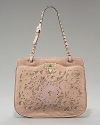 Valentino Rockstud Inlaid Lace Shoulder Bag - Lyst