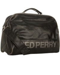 Fred Perry - Black Glazed Faux Leather Inflight Travel Bag - Lyst