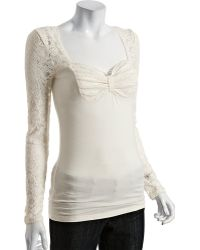 Free People Ivory Jersey Super Sweet Bow Lace Detail Top - Lyst