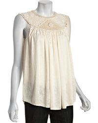 Free People Ivory Printed Jersey Aphrodite Crochet Neck Top - Lyst