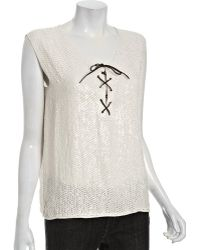 Gryphon - Ivory Sequin Silk Lace Up Tank - Lyst