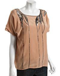 Love Sam Rose Silk Crepe Sequin Short Sleeve Blouse - Lyst
