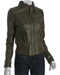 MICHAEL Michael Kors Duffle Leather Knit Top Stitch Zip-up Jacket - Lyst