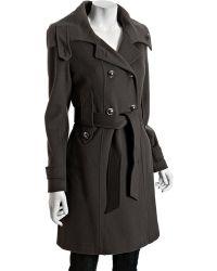 Tahari - Dark Grey Wool Phoebe Belted Coat - Lyst