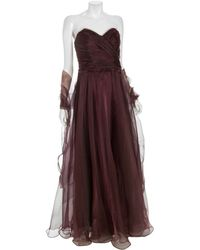 Theia Plum Tulle Sweetheart Strapless Long Dress purple - Lyst