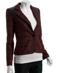 Torn Red Tweed Diane Faux Leather Detail Blazer - Lyst