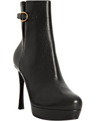 Saint Laurent Black Leather Gisele B 80 Platform Boots - Lyst