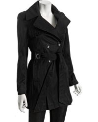 Via Spiga Black Double-breasted Scarpa Belted Trench Coat - Lyst