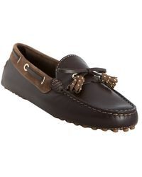 Tod's Brown Leather Haven Nappine Studded Tassel Loafers - Lyst