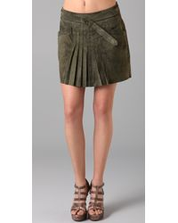 L.A.M.B. - Front Pleat Suede Skirt - Lyst