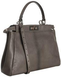 Fendi Grey Kidskin Peekaboo Large Bag - Lyst