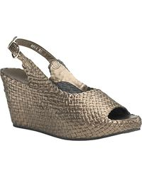 Sheridan Mia - - Pewter Leather Woven Wedge Sandal - Lyst