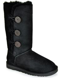 Ugg Bailey Button Triplet - Black Sheepskin Boot - Lyst