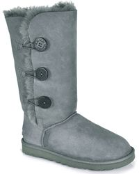 Ugg Bailey Button Triplet - Grey Sheepskin Boot - Lyst