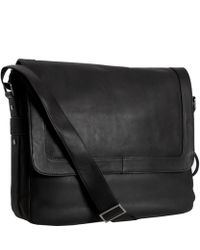 Calvin Klein Black Leather Flap Messenger Bag - Lyst