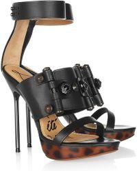 Lanvin Swarovski Crystal-embellished Leather Platform Sandals - Lyst