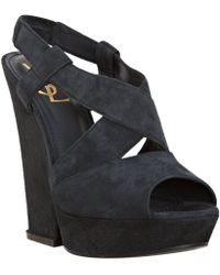 Saint Laurent Dark Blue Suede Hortense 105 Platform Sandals - Lyst