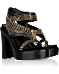 Givenchy Zip-detailed Leather Sandals - Lyst