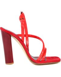 Marc Jacobs Leather and Calf Velvet Snake Sandals red - Lyst