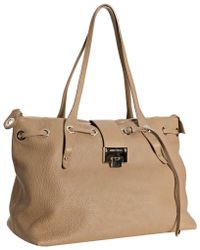 Jimmy Choo Nude Leather Rhea Threaded Opening Tote - Lyst