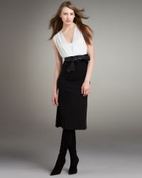 Narciso Rodriguez Bicolor Belted Sleeveless Dress - Lyst