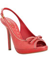 Prada Dark Pink Stitched Leather Platform Slingbacks - Lyst