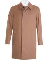 Aquascutum Brown Solid Raincoat - Lyst