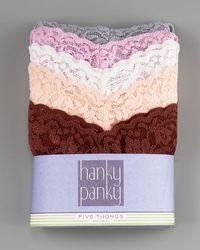 Hanky Panky Original-rise Thong Five Pack - Lyst
