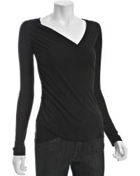 Rebecca Beeson - Black Cotton Modal Wrapped Long Sleeve Top - Lyst
