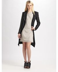 Helmut Lang Eon Leather-trimmed Trench Coat - Lyst