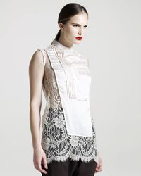 Givenchy Pintucked-bib Lace Blouse - Lyst