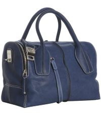 Tod's - Blue Leather D-styling Small Tote - Lyst