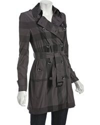 Burberry Brit Black Pearl Check Double Breasted Belted Trench - Lyst