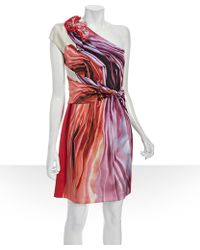 Elie Tahari Red Printed Stretch Silk Keaton One-shoulder Dress red - Lyst