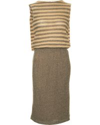 L'Agence Metallic Stripe Dress - Lyst