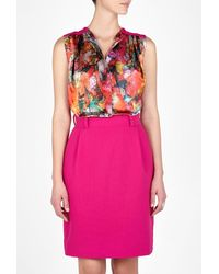 Preen By Thornton Bregazzi Pink Leaf Printed Blouse Dress - Lyst