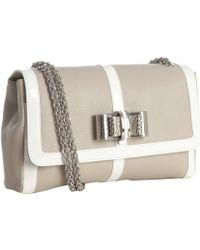 Christian Louboutin Beige Leather Sweet Charity Bow Shoulder Bag - Lyst