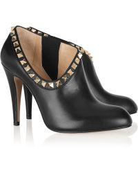Valentino Studded Leather Ankle Boots - Lyst