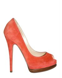 Casadei 130mm Suede Open Toe Pumps - Lyst