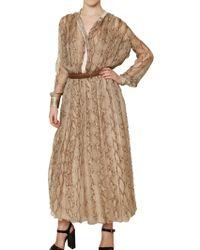 Chloé Snake Print Silk Chiffon Dress - Lyst