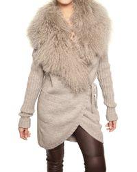 Dolce & Gabbana Mongolian Fur & Alpaca Wool Knit Sweater - Lyst