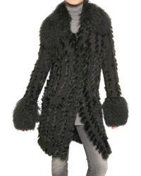 Dolce & Gabbana Mongolia,rabbit Fur and Wool Knit Coat - Lyst