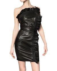 DSquared² Ruffled Nappa Leather Dress - Lyst