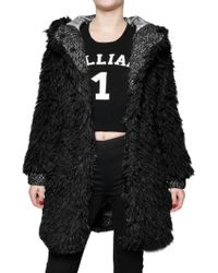 John Galliano Hooded Faux Fur Coat - Lyst