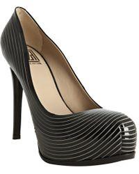 Pour La Victoire Black Striated Patent Leather Irina Platform Pumps - Lyst